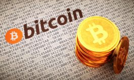 Golden Bitcoins with logo an label